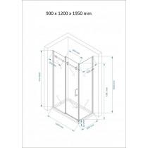 Douchecabine 120x90CM Rechthoekig Vita LB- Mat Glas. Links
