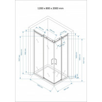 Douchecabine 120x80CM Vierkant Vivo LB- Helder Glas - Rechts