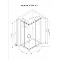 Douchecabine 120x90CM Vierkant Vivo LB- Helder Glas - Links