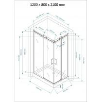 Douchecabine 120x80CM Vierkant Vivo HB- Helder Glas - Links