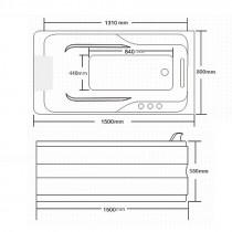 Whirlpool Bubbelbad Dona Rechts 150X80X58CM