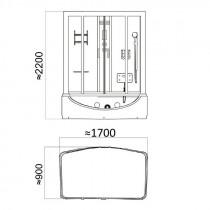 Bad Douche Whirlpool Bubbelbad Stoom Combinatie 170 X 90 X 220 CM Dante