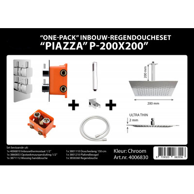 Inbouwkraan Piazza  PL 20cm Vierkant