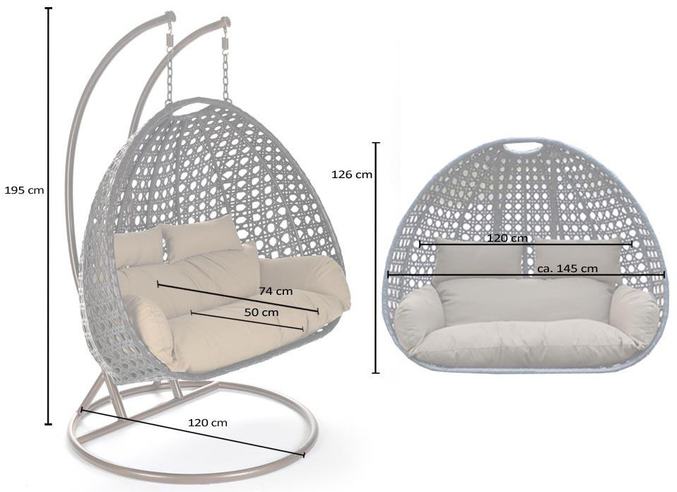 Hangstoel Wicker Kurl White